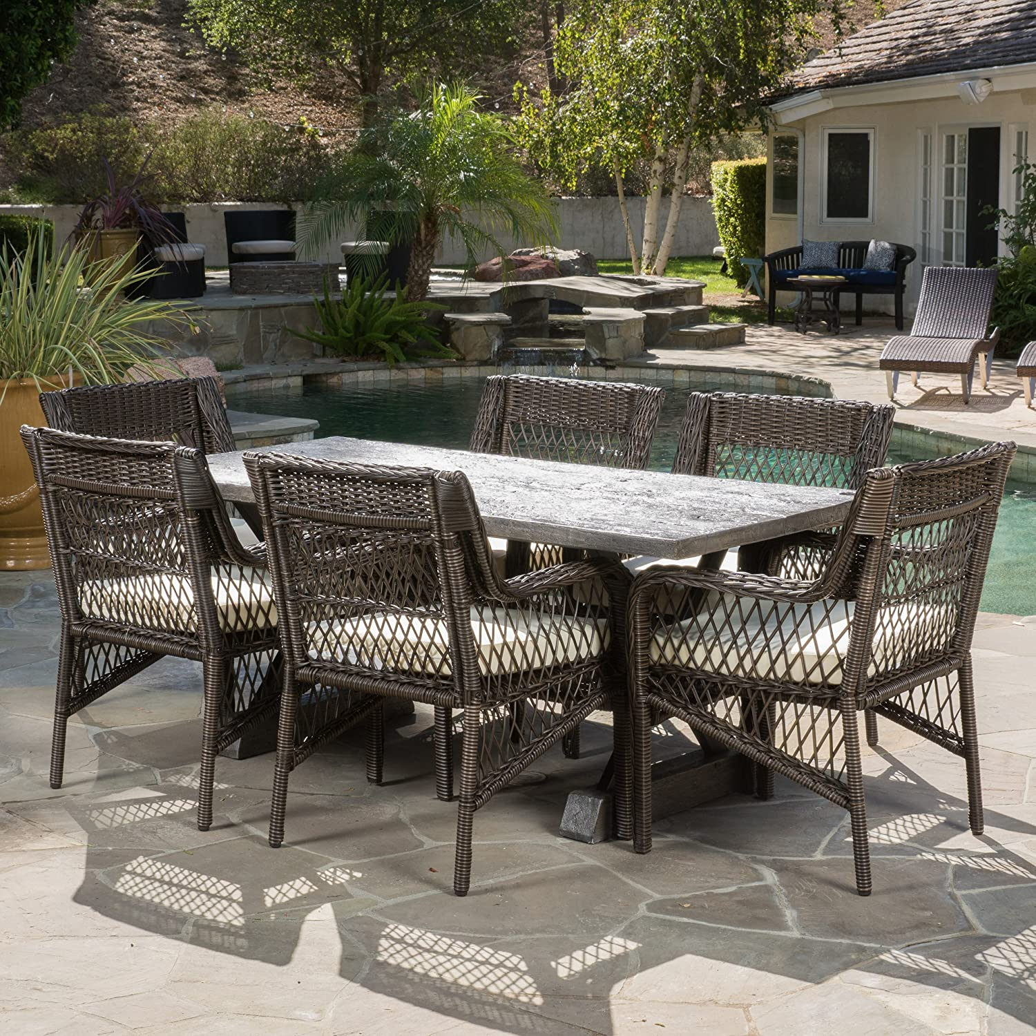 Christopher Knight Home Linden Outdoor 7-Piece Dining Set with Cushions