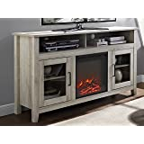"""WE Furniture 58"""" Wood Highboy Fireplace Media TV Stand Console - White Oak"""