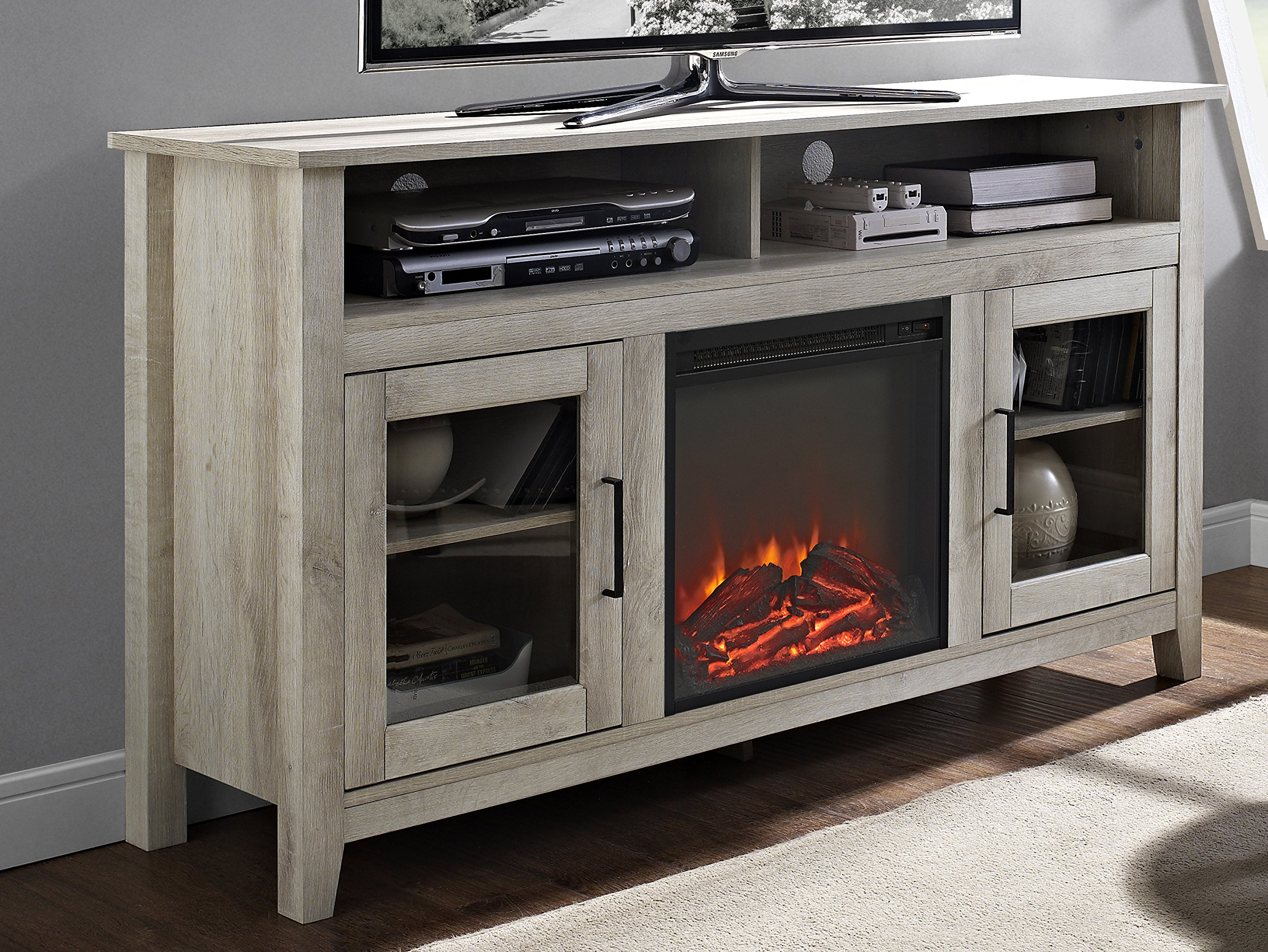 WE Furniture 58'' Wood Highboy Fireplace Media TV Stand Console - White Oak