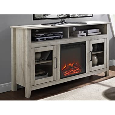 WE Furniture 58  Wood Highboy Fireplace Media TV Stand Console - White Oak
