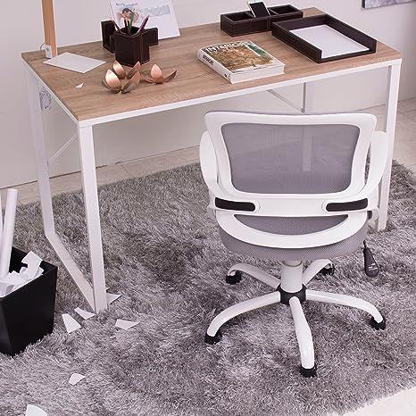Mesa escritorio TIBET tapa color madera natural y patas de metal ...