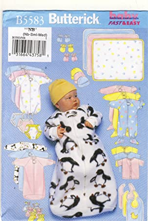 Butterick 5583 - Patrones de costura para ropa de bebé, mono ...