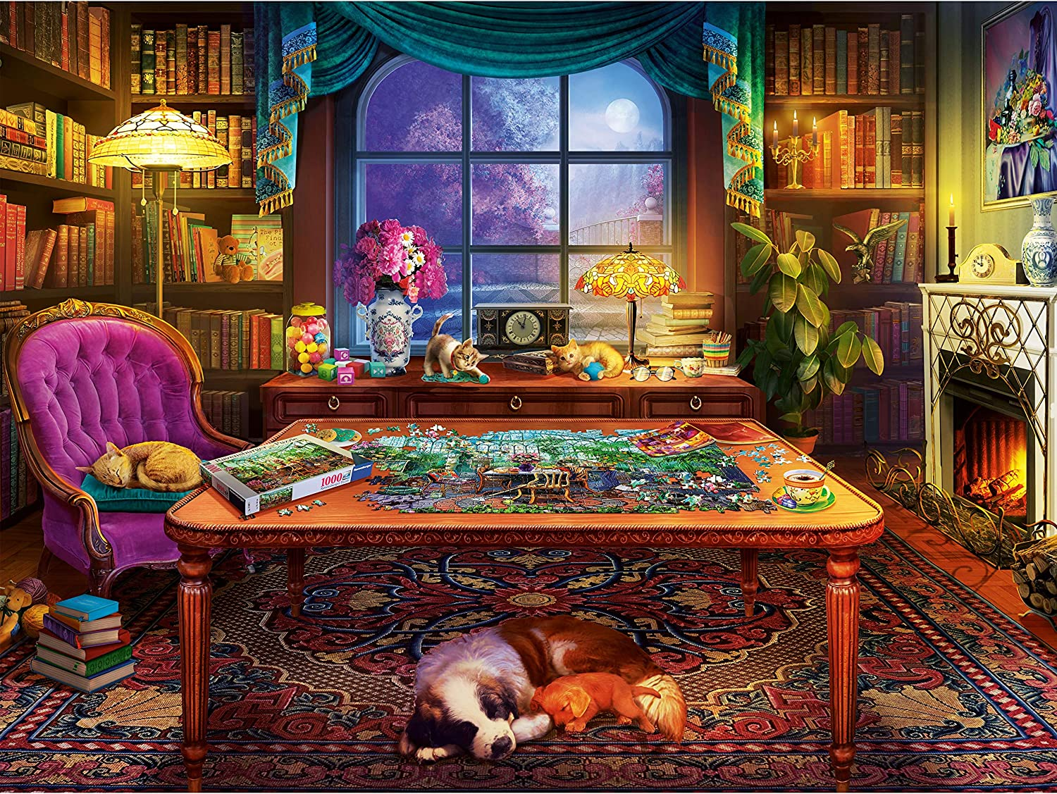 Ravensburger Cozy Series: Puzzler's Place 750 Piece Large Format Jigsaw Puzzle for Adults - Every Piece is Unique, Softclick Technology Means Pieces Fit Together Perfectly