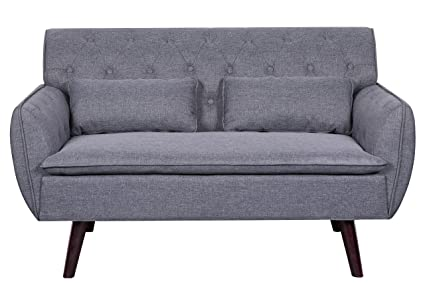 Container Furniture Direct S5298 Mid Century Modern Upholstered Loveseat  Button Tufting Two Pillows, Light