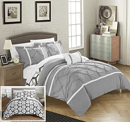 Exceptional Chic Home Marcia 4 Piece Reversible Comforter Set Super Soft Microfiber  Pinch Pleated Ruffled Design With