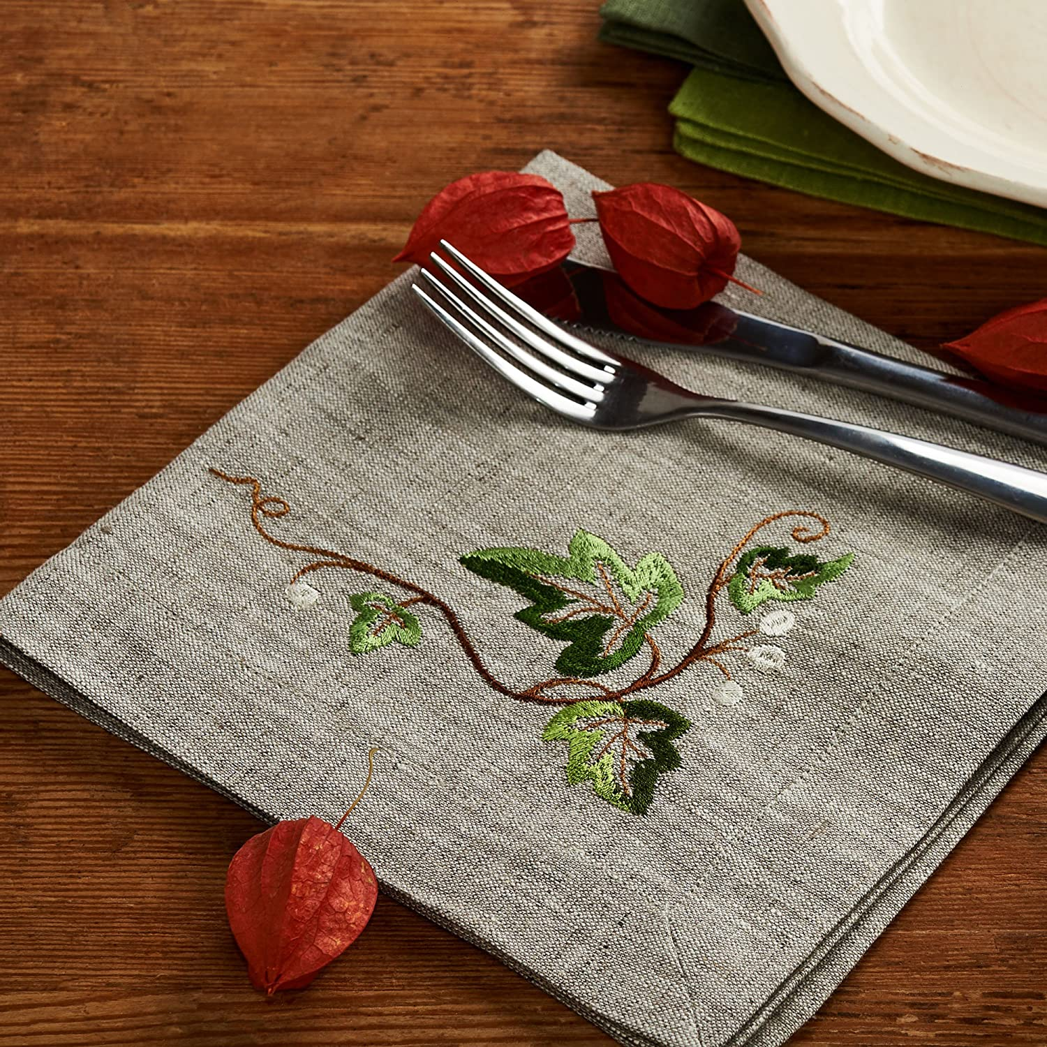 Carol of The Bells Linen Christmas and New Year Table Napkins /— Soft and Durable Cloth /— Premium Quality /— Eco-Friendly 100/% Pure European Linen Fabric /— Set of 4 16 x 16