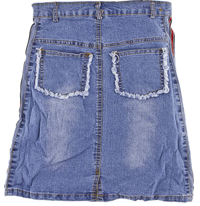 Girls blue denim skirt knee-length style with patches and loops:  Amazon.co.uk: Clothing