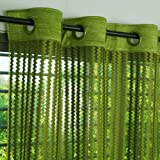 Story@Home Sheer Door Curtains Linen Look Semi Transparent Voile Grommet Elegance Curtains for Living Dining Room, Bedroom Drapes 46 x 84 Inch Long, Set of 2 Panels, Parrot Green