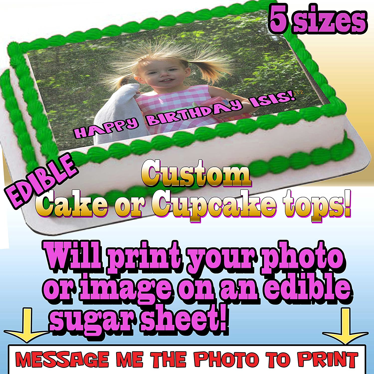Amazon Your Photo Printed On Edible Frosting Paper For Cakes Or