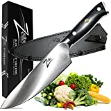 Zelite Infinity Chef Knife 8 inch >> Alpha-Royal Series >> Best Quality German Steel - Razor Sharp, Superb Edge Retention, Stain & Corrosion Resistant Chefs Knives, Ultra-Premium Leather Sheath