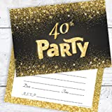 40th birthday party invitations 20 pack amazon kitchen home black and gold effect 40th birthday party invitations ready to write with envelopes pack filmwisefo
