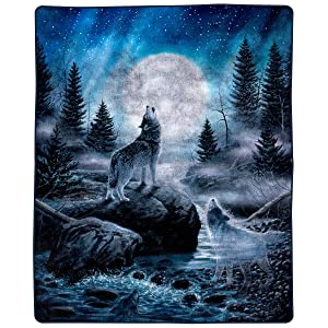 """Bedford Home Howling Wolf Pattern 74"""" x 91"""" Heavy Fleece Plush Thick 8 Pound Faux Mink Soft Blanket, Multicolor"""