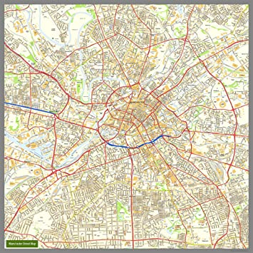 manchester street map paper 160cm x 160cm approx