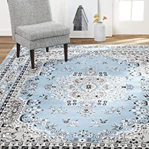 "Home Dynamix Premium Asiana Traditional Area Rug, Oriental Light Blue 21""x35"""