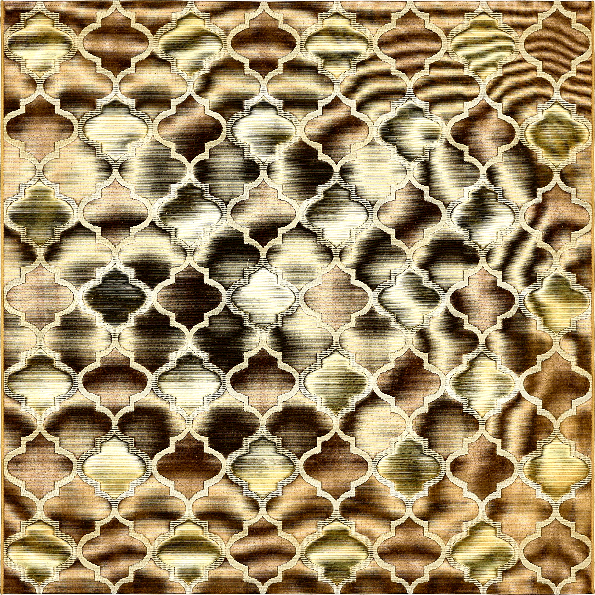 Unique Loom Eden Outdoor Collection Gold 6 ft Square Area Rug (6' x 6')