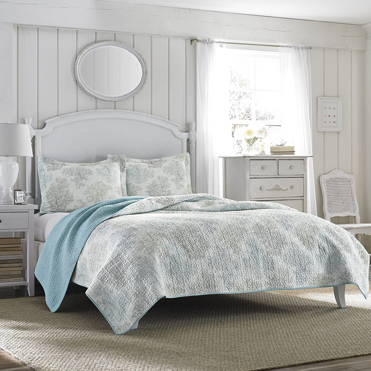 Amazon.com: Laura Ashley Saltwater Reversible Quilt Set, Full ... : laura ashley caroline quilt - Adamdwight.com