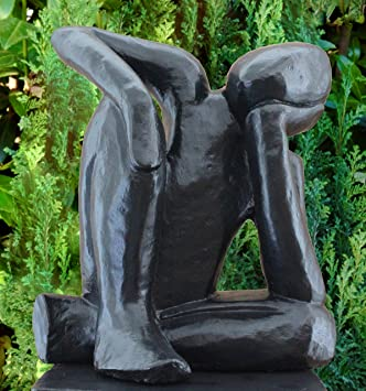 Modern Garden Sculpture   Dreamer, Cast Stone, Black