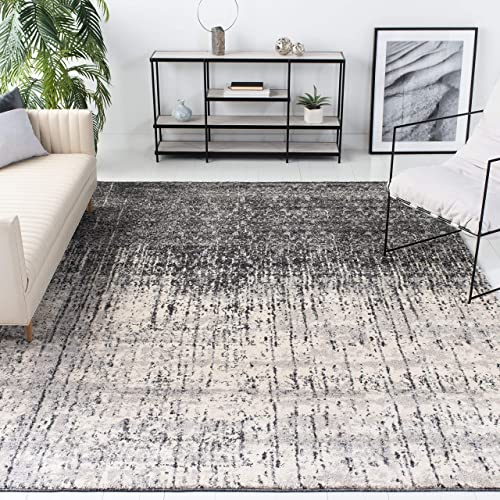 Safavieh Retro Collection RET2770-9079 Modern Abstract Black and Light Grey Area Rug 8'9″ x 12'