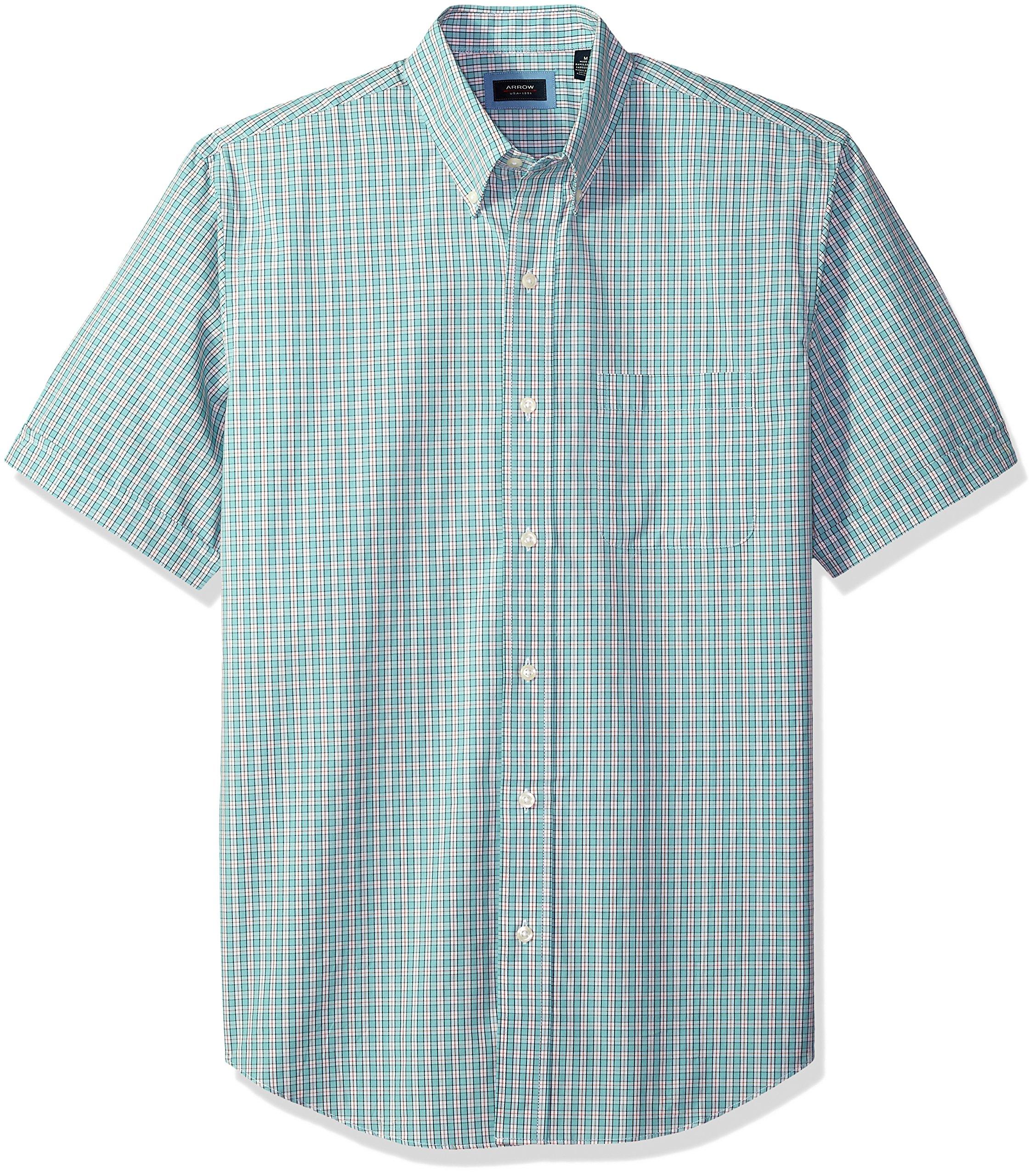 Arrow Men's Big Short Sleeve Hamilton Poplin Shirt, Aqua Haze, 3X-Large Tall