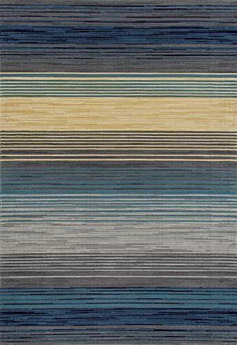 Art Carpet Bastille Collection Heathered Stripe Border Woven Area Rug, 5 x 8 , Blue Yellow Gray
