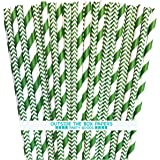 Outside the Box Papers Green Stripe and Chevron Paper Straws 7.75 Inches 100 Pack Green, White