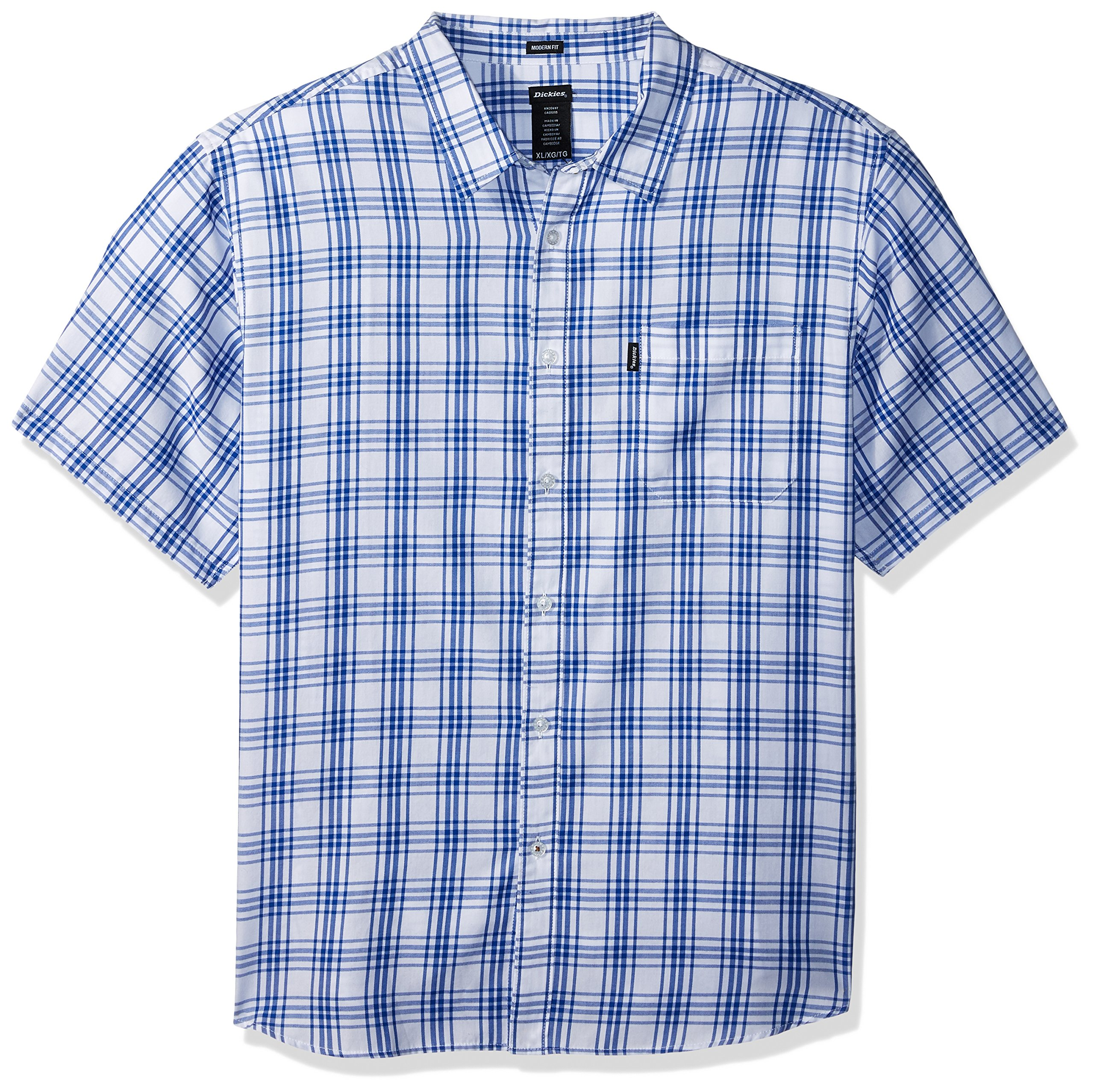Dickies Men's Modern Fit Yarn Dyed Plaid Short Sleeve Shirt, White/Blue Plaid, XL