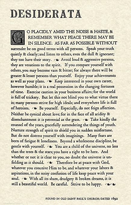 picture about Desiderata Printable titled Desiderata Gallery The Desiderata Poem by way of Max Ehrmann. 11 X 17 Poster upon Archival Parchment Paper