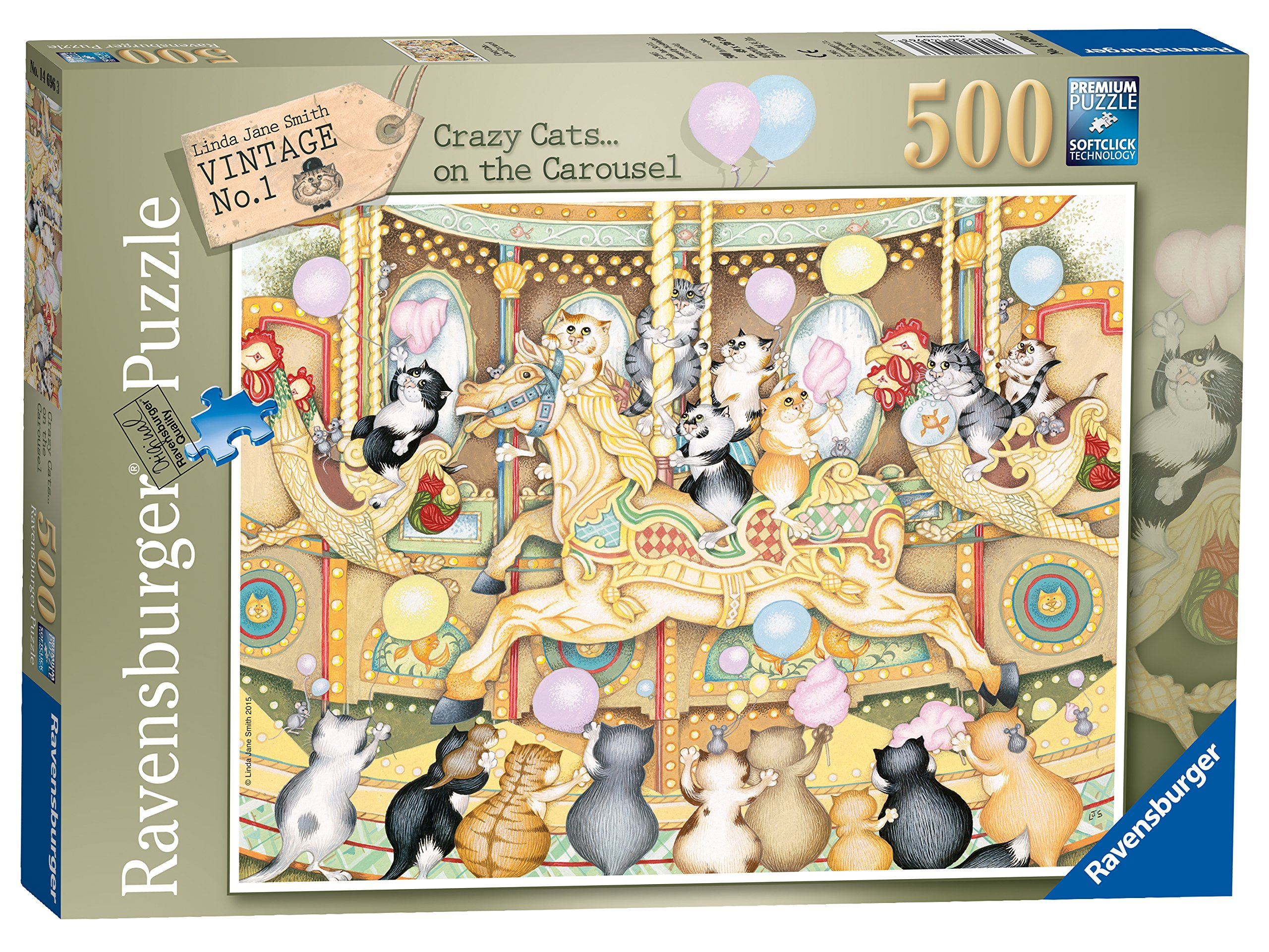 Ravensburger Jigsaw Puzzle CRAZY CATS KNIT ONE PURRL ONE 500 Piece
