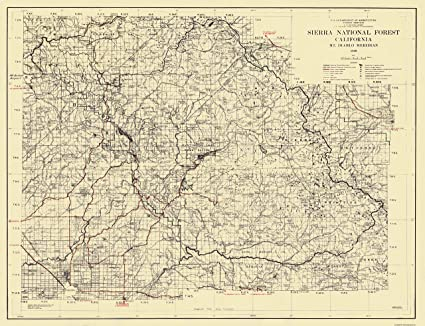 National Forests In California Map.Amazon Com Old State Map Sierra National Forest California