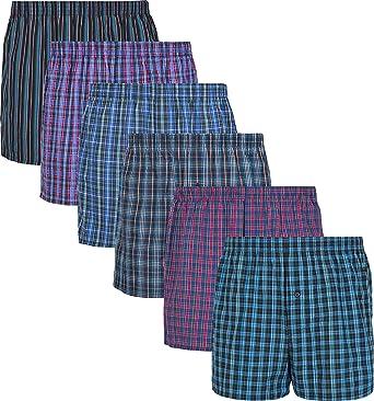 MC.TAM® - Calzoncillos tipo bóxer para hombre, 100% algodón tejido ...