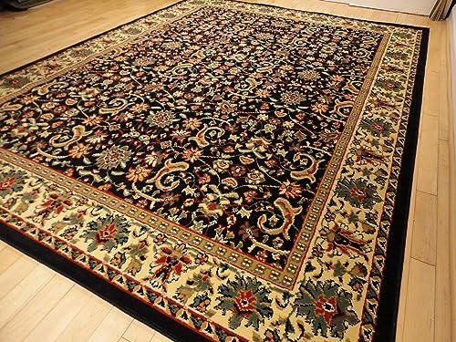 Black Traditional Rug Large 8×11 Area Rugs Black Persian 8×10 Rug Dining Room Carpet 8×10 Living Room Rugs Traditional Black Rugs 8 X 11 Large 8'x11' Rug