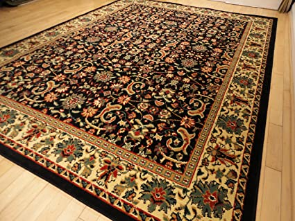 Black Traditional Rug Large 8x11 Area Rugs Persian 8x10 Dining Room Carpet Living