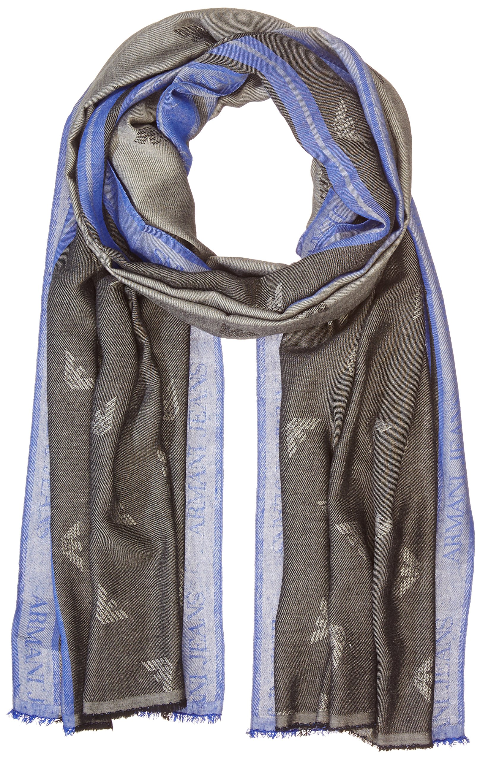 Armani Jeans Men's Viscose Fabric Scarf With Eagle Logo, blue/black, ONE SIZE