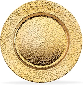 Home Collectives 13 Inch Round Elegant Serve ware Charger Plates with Matching Napkin Rings, Wedding, Dinner party, Event - Choose from our Variety of Styles and Quanties (12, Cracked Gold)
