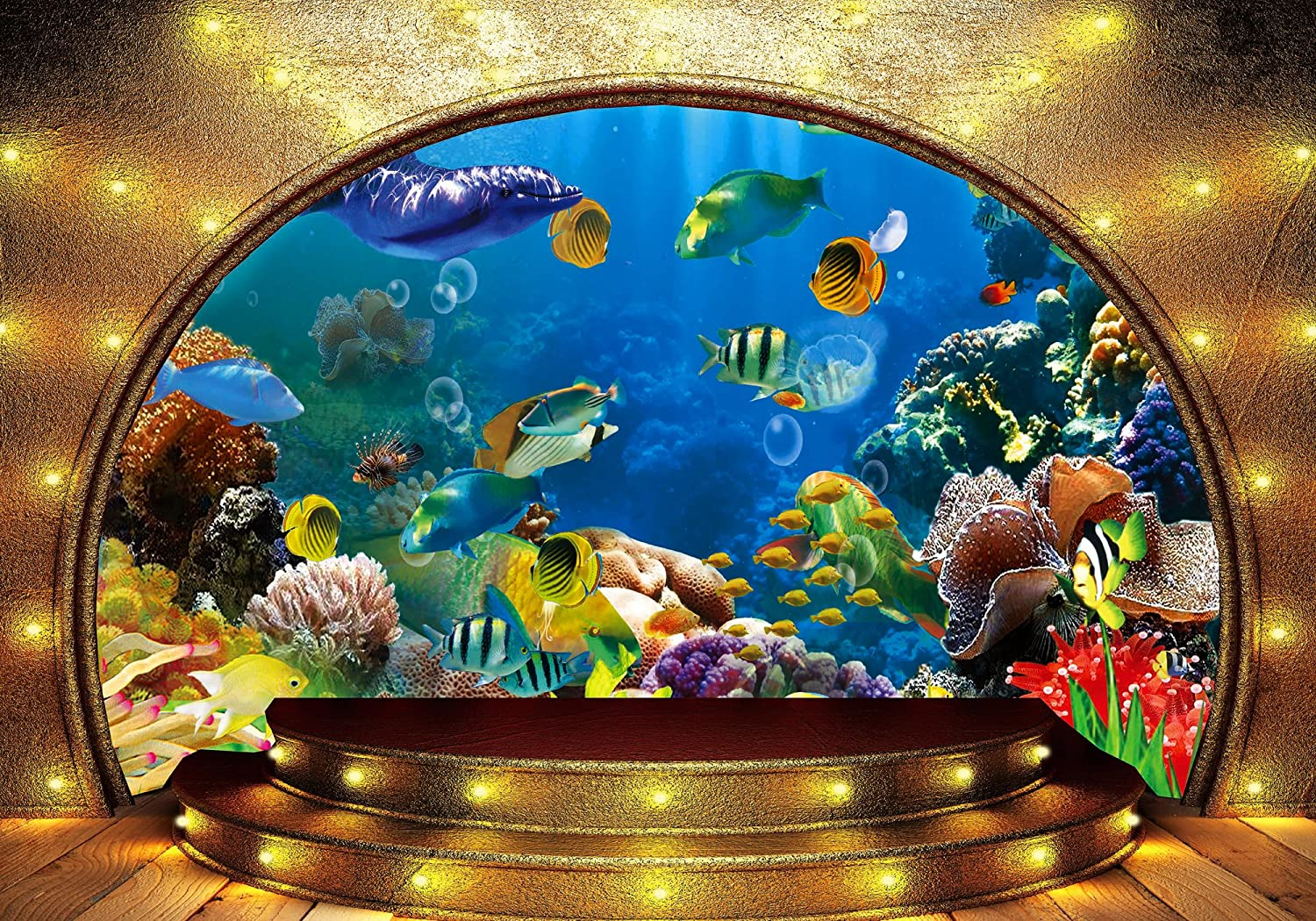 Meets 10x7ft Underwater World Backdrop Dolphin Fish Golden Dome Background Themed Party Photo Booth YouTube Backdrop HUIMT177