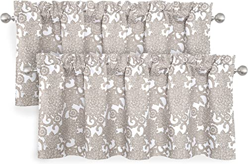DriftAway Daisy Dahlia Blooming Flower Floral Lined Thermal Insulated Energy Saving Window Curtain Valance 2 Layers Rod Pocket 52 Inch by 18 Inch Plus 2 Inch Header Beige 2 Pack