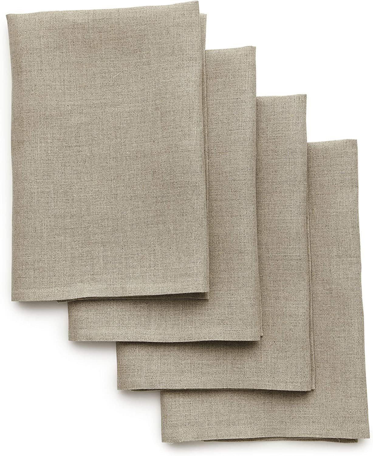 Solino Home 100% Pure Linen Dinner Napkins - 20 x 20 Inch Natural, Set of 4 Linen Napkins, Athena - European Flax, Soft & Handcrafted with Mitered Corners