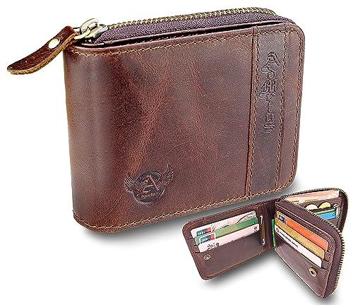24287272f3b6 Admetus Men's Genuine Leather Bifold Zip-around Wallet with Elegant Gift