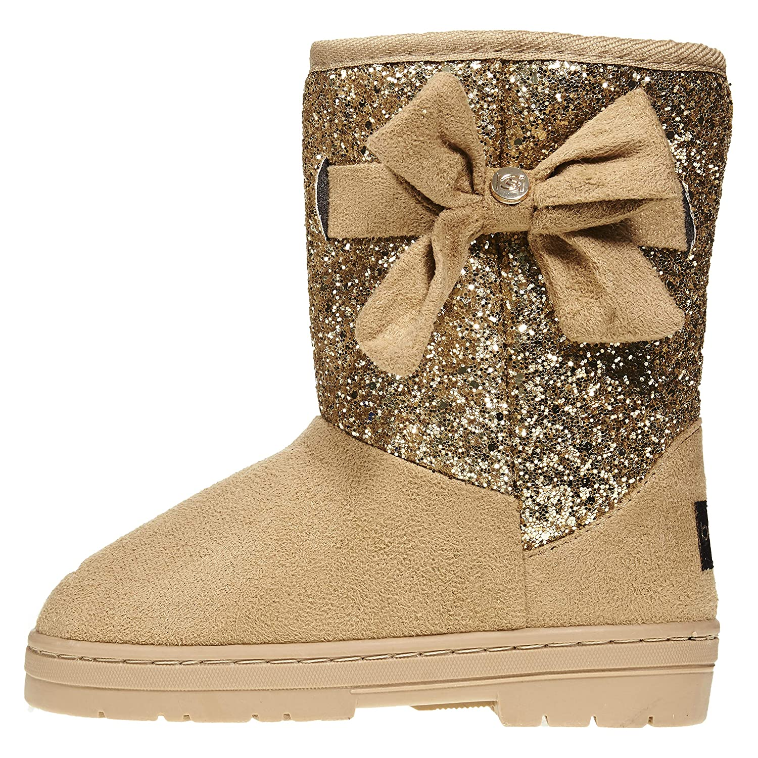 bebe Girls Glitter Winter Boots with Side Bow Casual Dress Warm Slip-On Shoes