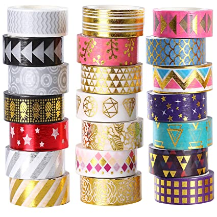 Image result for 21 Rolls Foil Washi Tape - Gold & Colored Metallic Washi Tape - 15mm Wide DIY Craft Masking Tape by leebee