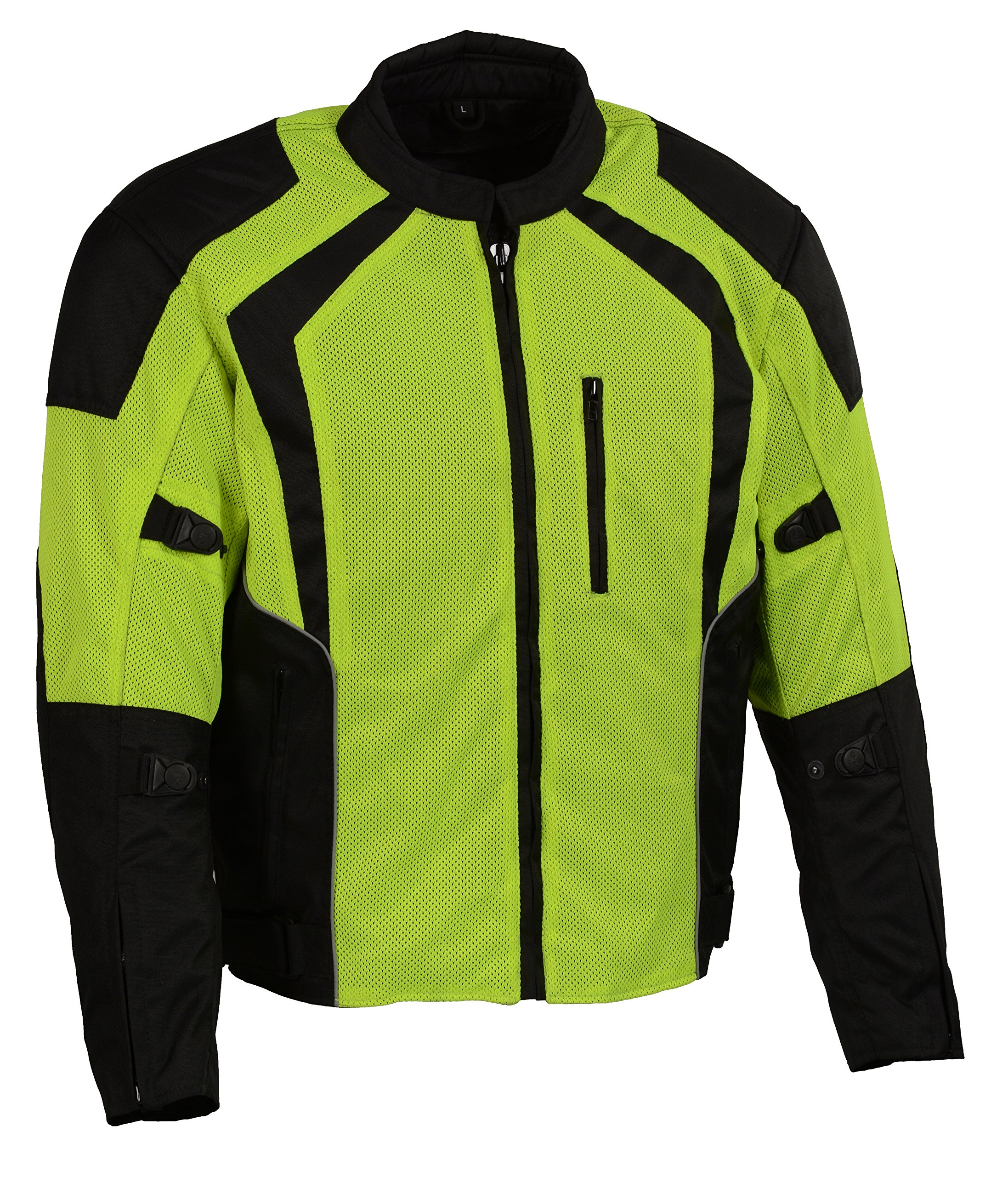 Milaukee Performance-Men's Nylon/Mesh Combo Racing Jacket w/Armor-BLK/NEON GREEN-MD