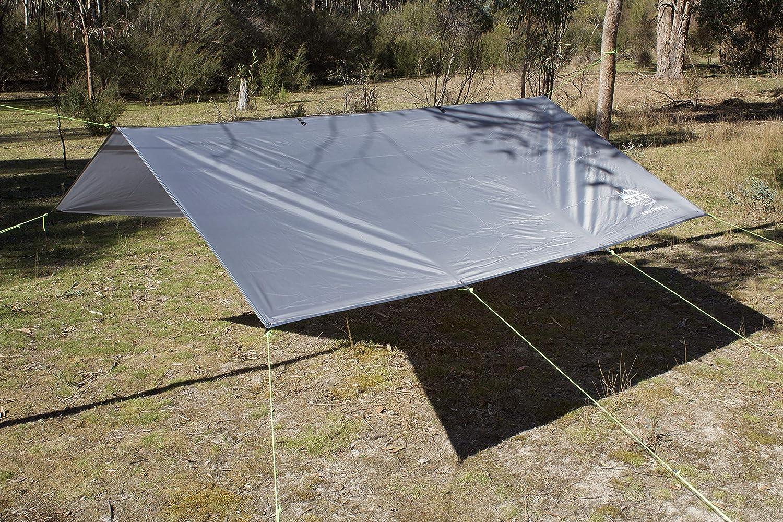 Sackpf/ähle Seile Camping H/ängematte Regen Fliegenzelt TARP Wasserdicht Leichtgewicht Grau Diamant Ripstop-Nylon 3 m x 3 m Outdoor Shelter Backpacking Wandern Reisen Bushcraft Survival inkl