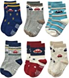Deluxe RB-71112 Non Skid Anti Slip Crew Socks With Grips For Baby Toddlers Boys