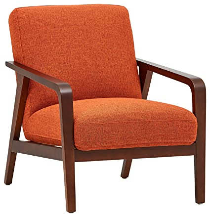 Amozon Accent Chairs.Rivet Huxley Mid Century Accent Chair Burnt Orange