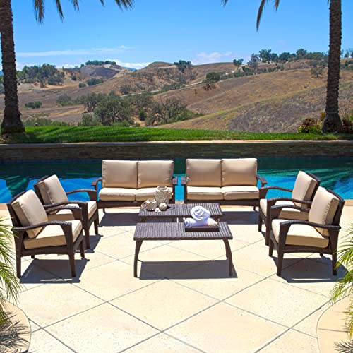 Voyage Outdoor 8pc Brown Wicker Seating Set