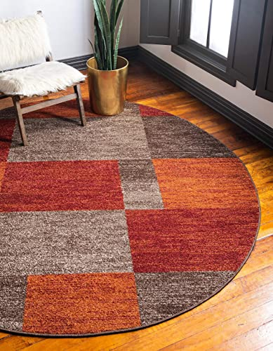 Unique Loom Autumn Collection Checkered Abstract Casual Warm Toned Multi Round Rug 8 0 x 8 0