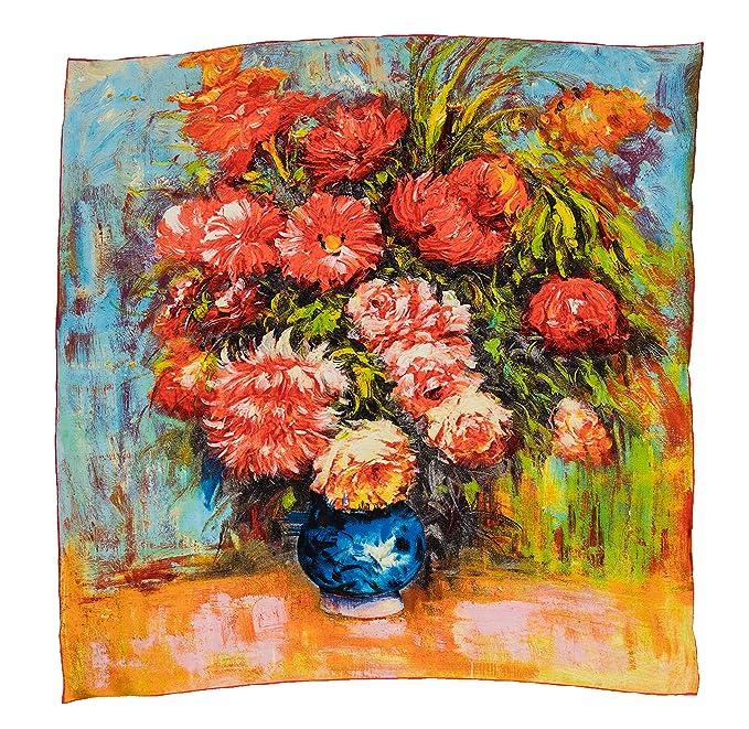 Silk Fedora Pañuelo de Seda 90x90cm. Estampado Bodegón con flores: Amazon.es: Ropa y accesorios