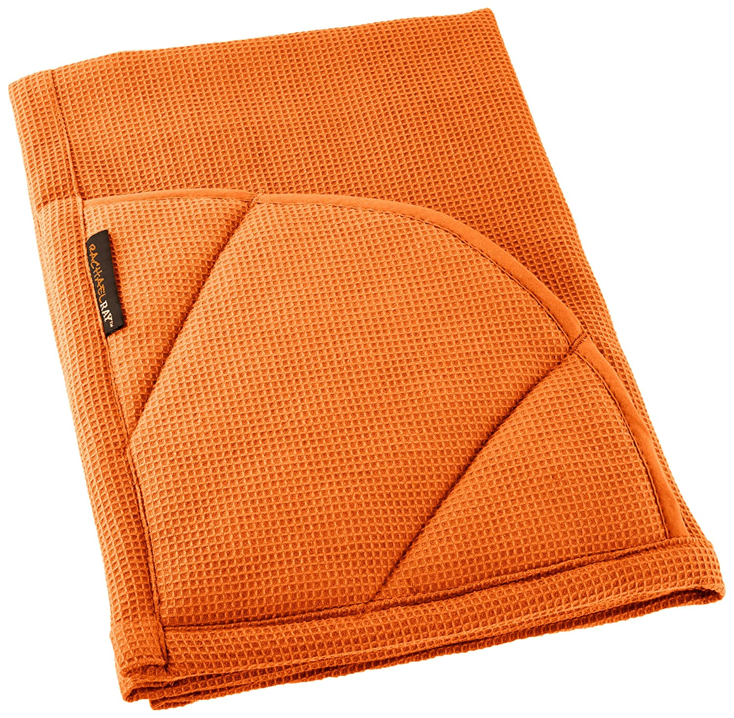 Rachael Ray Kitchen Towel and Oven Glove Moppine – A 2-in-1 Ultra Absorbent Kitchen Towel with Heat Resistant Pot-Holder Padded Pockets to Handle Hot Cookware and Bakeware,Burnt Orange