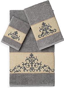 Linum Home Textiles Scarlet 3PC Embellished Towel Set, Dark Grey
