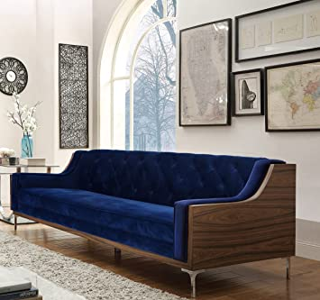 Iconic Home Clark Modern Contemporary Navy Blue Velvet Tufted Swoop Arm Sofa With Walnut Finish Silvertone Chrome Legs Furniture Decor
